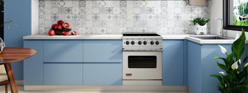 keuken modern blauw wit aanrechtblad